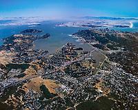 aerial photograph of San Rafael and Richardson Bay toward San Francisco and Oakland, Marin County, California