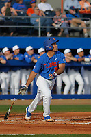 University of Florida Gators infielder Keenan Bell (32) at bat during a game against the Siena Saints at Alfred A. McKethan Stadium in Gainesville, Florida on February 17, 2018. Florida defeated Siena 10-2. (Robert Gurganus/Four Seam Images)