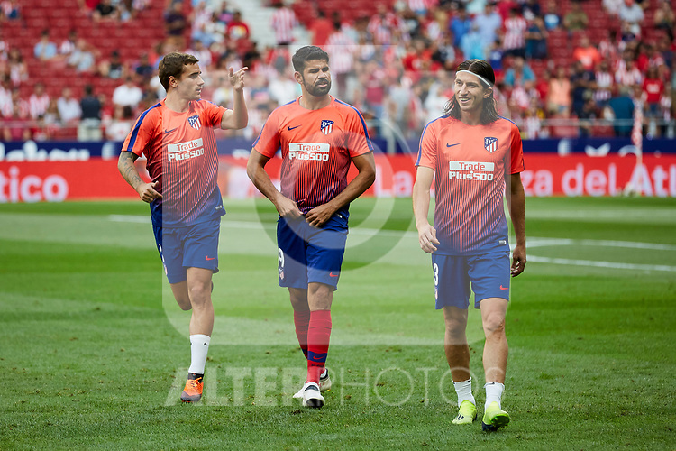 Atletico de Madrid's Antoine Griezmann (l), Diego Costa (c) and Filipe Luis during La Liga match. August 25, 2018. (ALTERPHOTOS/A. Perez Meca)