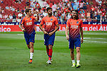 Atletico de Madrid's Antoine Griezmann (l), Diego Costa (c) and Filipe Luis during La Liga match. August 25, 2018. (ALTERPHOTOS/A. Perez Meca)