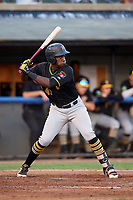 Bristol Pirates third baseman Sherten Apostel (47) at bat during a game against the Bluefield Blue Jays on July 26, 2018 at Bowen Field in Bluefield, Virginia.  Bristol defeated Bluefield 7-6.  (Mike Janes/Four Seam Images)