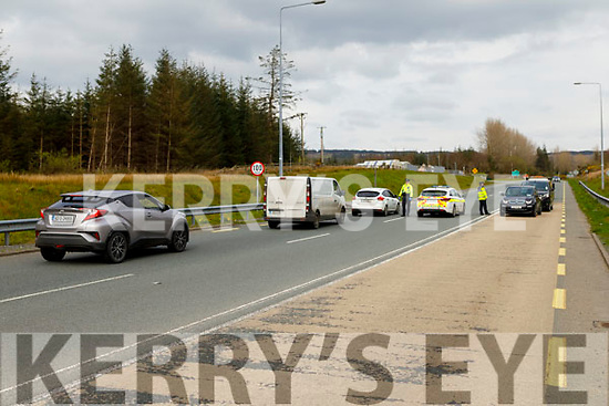 A Garda check point on the Castleisland to Abbeyfeale road on Thursday.