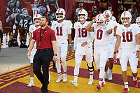 LOS ANGELES, CA - SEPTEMBER 11: The quarterbacks of the Stanford Cardinal head out to the field for warmups before a game between University of Southern California and Stanford Football at Los Angeles Memorial Coliseum on September 11, 2021 in Los Angeles, California.