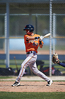 Baltimore Orioles Austin Leyritz (83) follows through on a swing during a minor league Spring Training game against the Minnesota Twins on March 17, 2017 at the Buck O'Neil Baseball Complex in Sarasota, Florida.  (Mike Janes/Four Seam Images)