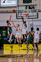 12 March 2019: University of Vermont Catamount Guard Ernie Duncan (20), a Redshirt Senior from Evansville, IN, defends a shot by Binghamton University Bearcat Guard Timmy Rose, a Senior from Scranton, PA, at Patrick Gymnasium in Burlington, Vermont. Duncan finished the game with eight points and seven assists as the top-seeded Catamounts advanced to their fourth-straight America East conference championship game, defeating the Bearcats 84-51. Mandatory Credit: Ed Wolfstein Photo *** RAW (NEF) Image File Available ***