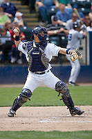 June 22, 2008: Tacoma Rainiers catcher Rob Johnson fires a throw down to second base during a Pacific Coast League game against the Portland Beavers at Cheney Stadium in Tacoma, Washington.