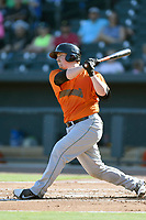Catcher Skyler Ewing (25) of the Augusta GreenJackets bats in a game against the Columbia Fireflieon Sunday, July 30, 2017, at Spirit Communications Park in Columbia, South Carolina. Augusta won, 6-0. (Tom Priddy/Four Seam Images)