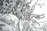 """Visual Arts:  Albrect Durer--Martyrdom of the ten thousand, detail.  Actual size of woodcut, 6"""" x5""""."""