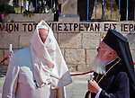 Pope Francis, left, and Ecumenical Patriarch Bartholomew meet at  Viri Galilaei on the mount of Olives in Jerusalem Monday May 26 2014.The meeting was part of Pope Francis three day visit to the region. Photo by Eyal Warshavsky
