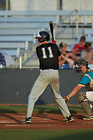 Nate Hinson (11) (North Greeneville) of the Concord A's at bat against the Mooresville Spinners at Moor Park on July 31, 2020 in Mooresville, NC. The Spinners defeated the Athletics 6-3 in a game called after 6 innings due to rain. (Brian Westerholt/Four Seam Images)