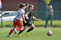 Liesa Capiau (15) of Zulte Waregemand Taika De Koker (16) of Woluwe  pictured during a female soccer game between SV Zulte - Waregem and White Star Woluwe on the 10 th and last matchday in play off 2 of the 2020 - 2021 season of Belgian Scooore Womens Super League , saturday 29 of May 2021  in Zulte , Belgium . PHOTO SPORTPIX.BE | SPP | DIRK VUYLSTEKE