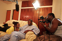 Nollywood, Nigerian movie industry at work. Actress Ini Edo and veteran actor Kanayo O Kanayo in a sceen in a film directed by Adim Williams. © Fredrik Naumann