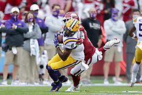LSU wide receiver Terrace Marshall Jr. (6) carries the ball, Saturday, November 21, 2020 during the first quarter of a football game at Donald W. Reynolds Razorback Stadium in Fayetteville. Check out nwaonline.com/201122Daily/ for today's photo gallery. <br /> (NWA Democrat-Gazette/Charlie Kaijo)