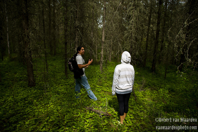 Gitz Crazyboy passes on some traditional knowledge to a youth from Fort McMurray. Many young indigenous people are not given the opportunity to be interested in their heritage and culture. Compounding this is the new society that they find themselves in, full of playstations, t.v, money and the byproducts, drugs and alcohol.