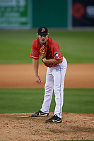 Batavia Muckdogs pitcher Joey Steele (43) during a NY-Penn League game against the Williamsport Crosscutters on August 25, 2019 at Dwyer Stadium in Batavia, New York.  Williamsport defeated Batavia 10-3.  (Mike Janes/Four Seam Images)