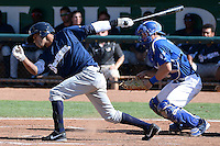 Dionis Hinojosa (27) of the Helena Brewers at bat against the Ogden Raptors at Lindquist Field on July 21, 2013 in Ogden Utah. (Stephen Smith/Four Seam Images)