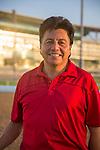 MEYDAN,DUBAI-MARCH 24: Leandro Mora,the Doug O'Neill stable(Frank Conversation) assistant trainer, at Meydan Racecourse on March 24,2016 in Meydan,Dubai (Photo by Kaz Ishida)