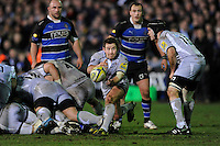 James Grindal of Leicester Tigers passes during the LV= Cup semi final match between Bath Rugby and Leicester Tigers at The Recreation Ground, Bath (Photo by Rob Munro, Fotosports International)