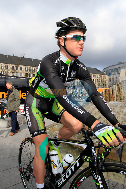 Simon Clarke (AUS) GreenEdge Cycling Team at sign on before the start of the 98th edition of Liege-Bastogne-Liege outside the Palais des Princes-Eveques, running 257.5km from Liege to Ans, Belgium. 22nd April 2012.  <br /> (Photo by Eoin Clarke/NEWSFILE).