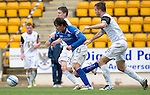 St Johnstone v Inverness Caley Thistle....07.04.12   SPL.Fran Sandaza gets between Josh Meekings and Roman Golobart.Picture by Graeme Hart..Copyright Perthshire Picture Agency.Tel: 01738 623350  Mobile: 07990 594431