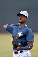 Center fielder Ranfy Adon (3) of the Columbia Fireflies warms up before a game against the Charleston RiverDogs on Friday, April 5, 2019, at Segra Park in Columbia, South Carolina. Charleston won, 6-1. (Tom Priddy/Four Seam Images)