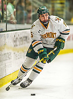 29 December 2014: University of Vermont Catamount Defenseman Yvan Pattyn, a Junior from St. Anne, Manitoba, in first period action against the Providence College Friars, during the deciding game of the annual TD Bank-Sheraton Catamount Cup Tournament at Gutterson Fieldhouse in Burlington, Vermont. The Friars shut out the Catamounts 3-0 to win the 2014 Cup. Mandatory Credit: Ed Wolfstein Photo *** RAW (NEF) Image File Available ***
