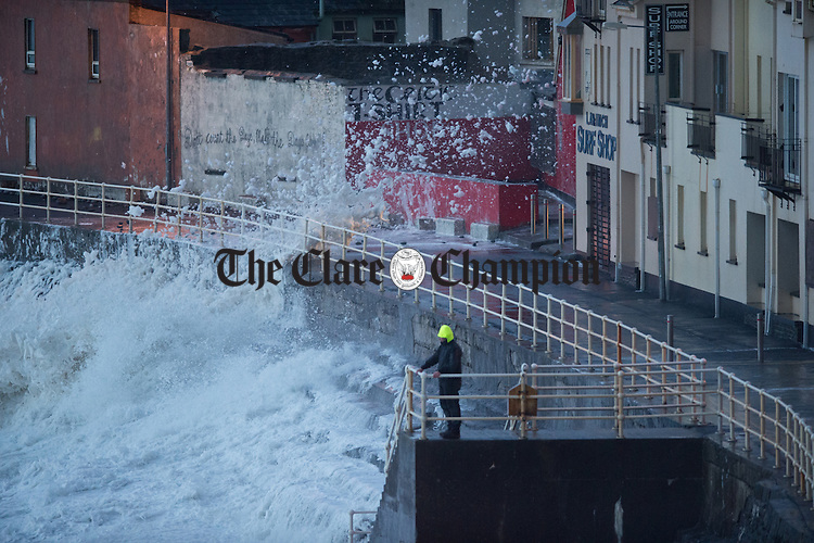 Spray blows onto the promenade in Lahinch during Storm Imogen. Photograph by John Kelly.