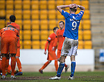 St Johnstone v Kilmarnock.....28.02.15<br /> Steven MacLean holds his head after another chance is squandered<br /> Picture by Graeme Hart.<br /> Copyright Perthshire Picture Agency<br /> Tel: 01738 623350  Mobile: 07990 594431