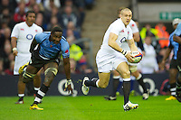 Mike Brown of England in action during the QBE International between England and Fiji at Twickenham on Saturday 10th November 2012 (Photo by Rob Munro)