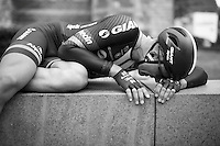 After finishing the opening stage, Marcel Kittel (DEU/Giant-Alpecin) drops to the ground as he went deep into his reserves to pull off a good prologue. He would finish 13th, 12 seconds behind the stage winner.<br /> <br /> stage 1: prologue<br /> Ster ZLM Tour 2015