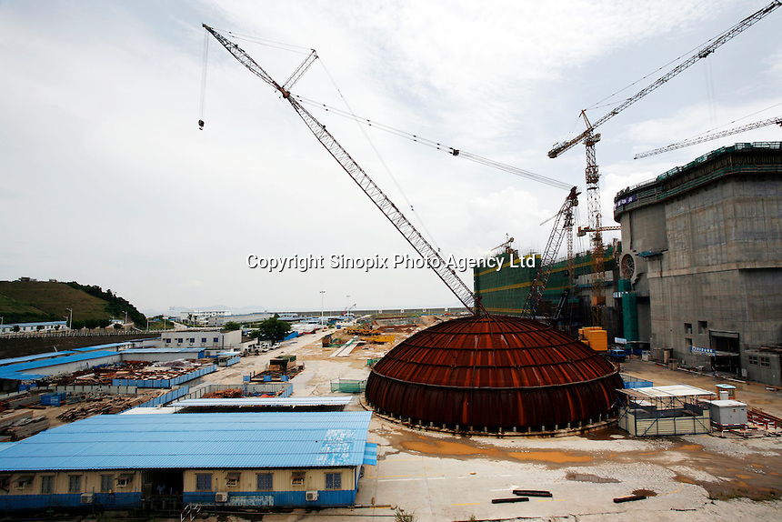 Construction work in Daya Bay nuclear power plant in Shenzhen, China. Daya Bay has two 944 MWR nuclear reactors based on the French 900 MWe three cooling loop design, which started commercial operation in 1993 and 1994..
