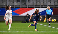 French Sakina Karchaoui (7) pictured in a sprinting duel with Swiss Svenja Folmli (17) during the Womens International Friendly game between France and Switzerland at Stade Saint-Symphorien in Longeville-lès-Metz, France.