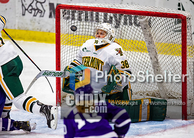 2 February 2020: University of Vermont Catamount Goaltender Natalie Ferenc, a Freshman from Orchard Lake, MI, makes a third period save against the Holy Cross Crusaders at Gutterson Fieldhouse in Burlington, Vermont. The Lady Cats rallied in the 3rd period to tie the Crusaders 2-2 in NCAA Women's Hockey East play. Mandatory Credit: Ed Wolfstein Photo *** RAW (NEF) Image File Available ***
