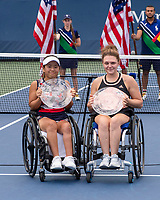 11th September 2021: Billie Jean King Tennis center, New York, USA; US Tennis Open championships; Finalists Yui Kamiji Jordanne, Whiley with their losing finalists Trophies, Wheelchair Doubles  Award Ceremony