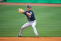 San Antonio Missions shortstop Trea Turner (4) throws to first after fielding a ground ball during a game against the NW Arkansas Naturals on May 31, 2015 at Arvest Ballpark in Springdale, Arkansas.  NW Arkansas defeated San Antonio 3-1.  (Mike Janes/Four Seam Images)