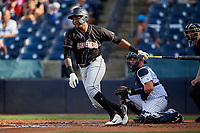 Jupiter Hammerheads Jerar Encarnacion (45) at bat in front of catcher Donny Sands during a Florida State League game against the Tampa Tarpons on July 26, 2019 at George M. Steinbrenner Field in Tampa, Florida.  Tampa defeated Jupiter 2-0 in the first game of a doubleheader.  (Mike Janes/Four Seam Images)
