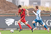 Mathis Sturbaut (15) of Belgium pictured in action with Markus Haaland (15) of Norway during a soccer game between the national teams Under17 Youth teams of  Norway and Belgium on day 3 in the Qualifying round in group 3 on Tuesday 12 th of October 2020  in Tubize , Belgium . PHOTO SPORTPIX | DAVID CATRY