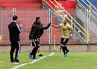PASTO - COLOMBIA, 21-07-2018: Roque Caballero, jugador de Rionegro Águilas Doradas, celebra el gol anotado a Deportivo Pasto, durante partido entre Deportivo Pasto y Rionegro Águilas Doradas, de la fecha 1 por la Liga Águila II 2018, jugado en el estadio Departamental Libertad de la ciudad de Pasto.  / XXXXXXXXX, player of Rionegro Aguilas Doradas, celebrate a goal scored to Deportivo Pasto, during a match between Deportivo Pasto and Rionegro Aguilas Doradas, of the 1st  date for the Liga Aguila II 2018 at the Departamental Libertad stadium in Pasto city. Photo: VizzorImage. / Leonardo Castro / Cont.