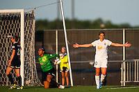 Western New York Flash midfielder Carli Lloyd (10) celebrates scoring. The Western New York Flash defeated Sky Blue FC 3-0 during a National Women's Soccer League (NWSL) match at Yurcak Field in Piscataway, NJ, on June 8, 2013.