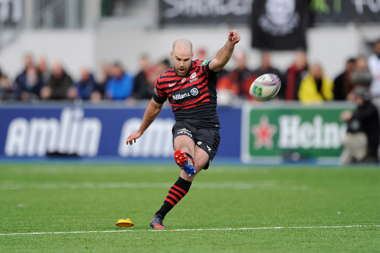 Charlie Hodgson of Saracens takes a penalty kick during the Heineken Cup Round 6 match between Saracens and Connacht Rugby at Allianz Park on Saturday 18th January 2014 (Photo by Rob Munro)