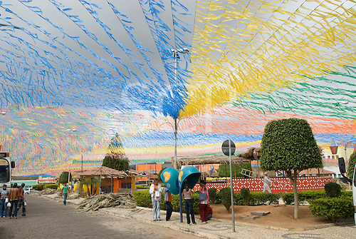 Seabra, Bahia State, Brazil. Small town in the geographical centre of Bahia decorated with brightly coloured plastic bunting.