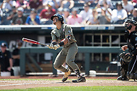 Vanderbilt Commodores third baseman Austin Martin (16) watches his second home run of Game 3 of the NCAA College World Series against the Louisville Cardinals on June 16, 2019 at TD Ameritrade Park in Omaha, Nebraska. Vanderbilt defeated Louisville 3-1. (Andrew Woolley/Four Seam Images)