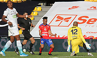 PASTO - COLOMBIA,20-09-2020:Ederson Moreno del Deportivo  Pasto celebra después de anotar el segundo gol de su equipo durante el partido entre Deportivo Pasto y Jaguares de Córdoba por la fecha 9 de la Liga BetPlay DIMAYOR I 2020 jugado en el estadio Estadio La Libertad de la ciudad de Pasto. / Ederson Moreno of Deportivo Pasto celebrates after scoring the fsecond goal of his team during match between Deportivo Pasto and Jaguares of Cordoba for the date 9 BetPlay DIMAYOR League I 2020 played at La Libertad stadium in Pasto city city. Photo: VizzorImage / Leonardo Castro / Cont