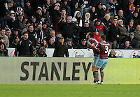 Pictured: Andy Carroll (L) of West Ham celebrating his opening goal Saturday 10 January 2015<br /> Re: Barclays Premier League, Swansea City FC v West Ham United at the Liberty Stadium, south Wales, UK