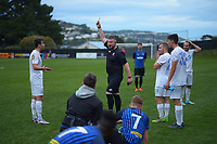 Olympic's Jack Henry-Sinclair is red carded during the Central League football match between Miramar Rangers and Wellington Olympic AFC at David Farrington Park in Wellington, New Zealand on Saturday, 29 May 2021. Photo: Dave Lintott / lintottphoto.co.nz