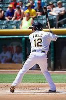 Tommy Field (12) of the Salt Lake Bees at bat against the Nashville Sounds in Pacific Coast League action at Smith's Ballpark on June 22, 2014 in Salt Lake City, Utah.  (Stephen Smith/Four Seam Images)