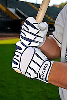 3 September 2008: Vermont Lake Monsters' catcher Derek Norris demonstrates his Cutters brand batting gloves prior to a NY Penn-League game against the Tri-City Valley Cats at Centennial Field in Burlington, Vermont. The Lake Monsters defeated the Valley Cats 6-5 in extra innings. Mandatory Photo Credit: Ed Wolfstein Photo