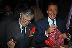 UMBERTO BOSSI CON GIANFRANCO FINI<br /> FESTA RIUNIFICAZIONE  A VILLA ALMONE RESIDENZA AMBASCIATORE TEDESCO -  ROMA  OTTOBRE 2008