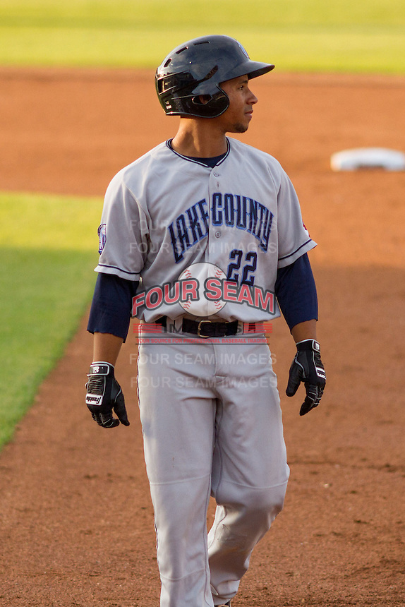 Lake County Captains catcher Francisco Mejia (22) during a Midwest League game against the Wisconsin Timber Rattlers on June 3rd, 2015 at Fox Cities Stadium in Appleton, Wisconsin. Wisconsin defeated Lake County 3-2. (Brad Krause/Four Seam Images)