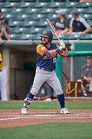 Nate Mondou (10) of the Las Vegas Aviators at bat against the Salt Lake Bees at Smith's Ballpark on June 27, 2021 in Salt Lake City, Utah. The Aviators defeated the Bees 5-3. (Stephen Smith/Four Seam Images)